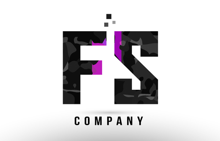 purple black alphabet letter fs f s logo combination design suitable for a company or business