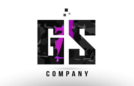 purple black alphabet letter gs g s logo combination design suitable for a company or business Illusztráció