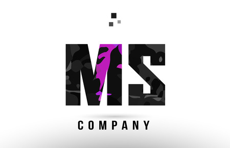 purple black alphabet letter ms m s logo combination design suitable for a company or business