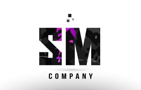 purple black alphabet letter sm s m logo combination design suitable for a company or business Ilustrace