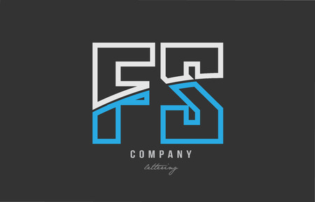 white blue alphabet letter fs f s logo combination design on black background suitable for a company or business