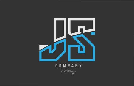 white blue alphabet letter js j s logo combination design on black background suitable for a company or business