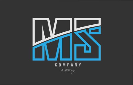 white blue alphabet letter ms m s logo combination design on black background suitable for a company or business Illustration