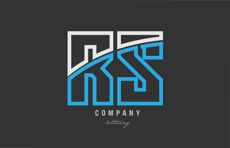 White and blue alphabet letter rs r s logo combination design on black background suitable for a company or business