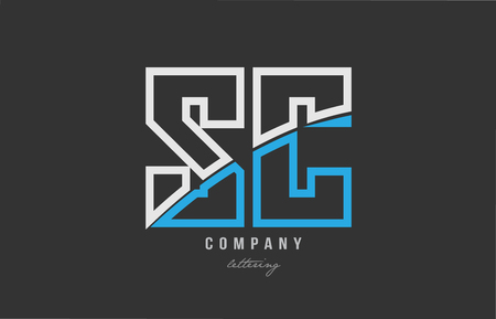 White and blue alphabet letter sc s c logo combination design on black background suitable for a company or business