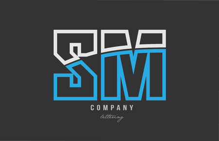 White and blue alphabet letter sm s m logo combination design on black background suitable for a company or business Ilustrace