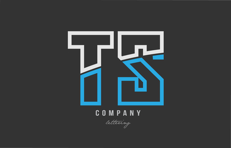 White and blue alphabet letter ts t s logo combination design on black background suitable for a company or business Ilustração