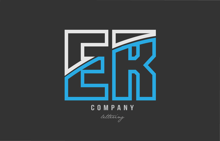 White and blue alphabet letter er e r logo combination design on black background suitable for a company or business