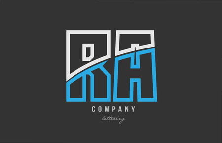 white blue alphabet letter ra r a logo combination design on black background suitable for a company or business