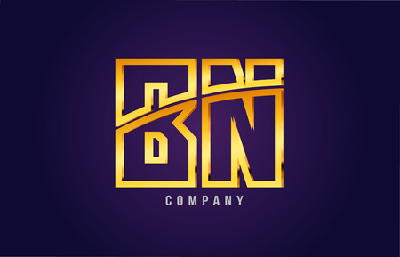 Golden alphabet, letters b and n icon, combination design suitable for a company or business icon on a dark purple background.