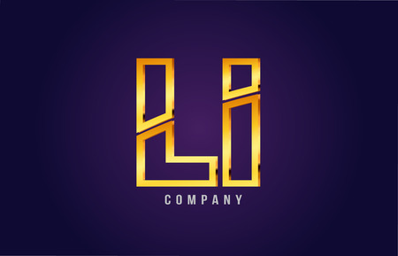 Golden alphabet, letters l and i icon, combination design suitable for a company or business icon on a dark purple background.