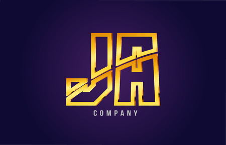 Golden alphabet, letters j and a icon, combination design suitable for a company or business icon on a dark purple background.