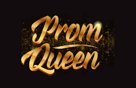 prom queen gold word text with sparkle and glitter background suitable for card, brochure or typography logo design
