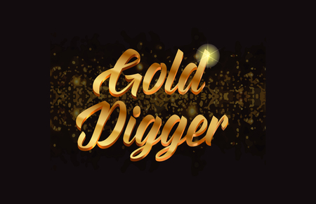 Gold digger gold word text with sparkle and glitter