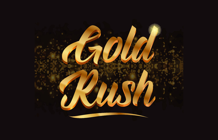 Gold rush word text with sparkle and glitter Vectores