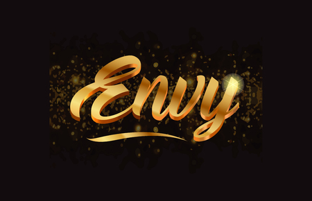 Envy gold word text with sparkle and glitter Illustration
