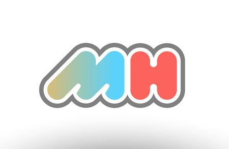 orange pastel blue alphabet letter mh m h logo combination design suitable for a company or business