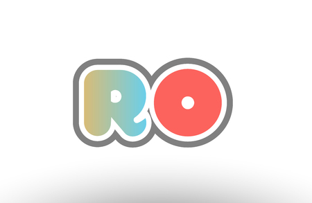 orange pastel blue alphabet letter ro r o logo combination design suitable for a company or business 일러스트