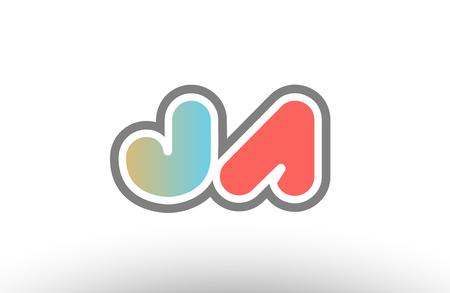 Orange pastel blue alphabet letter JA logo combination design suitable for a company or business