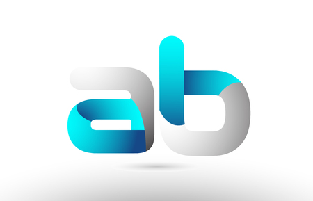 grey blue alphabet letter ab a b logo 3d design suitable for a company or business