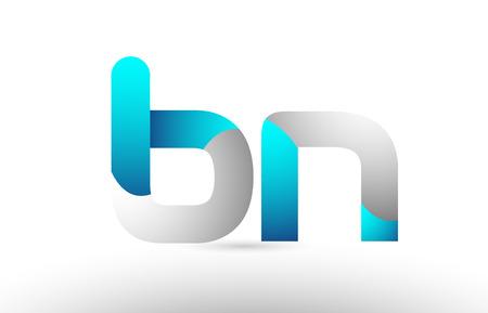 grey blue alphabet letter bn b n logo 3d design suitable for a company or business