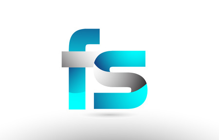 grey blue alphabet letter fs f s logo 3d design suitable for a company or business Ilustração