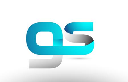 grey blue alphabet letter gs g s logo 3d design suitable for a company or business Illustration