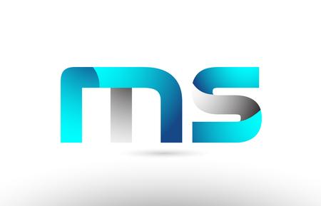 grey blue alphabet letter ms m s logo 3d design suitable for a company or business