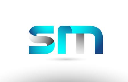 grey blue alphabet letter sm s m logo 3d design suitable for a company or business