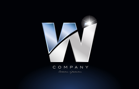 alphabet letter w logo design with metal blue color suitable for a company or business Illusztráció
