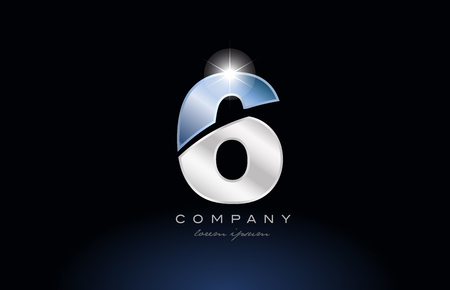 number 6 logo design with metal blue color suitable for a company or business