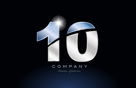 number 10 logo design with metal blue color suitable for a company or business Illusztráció