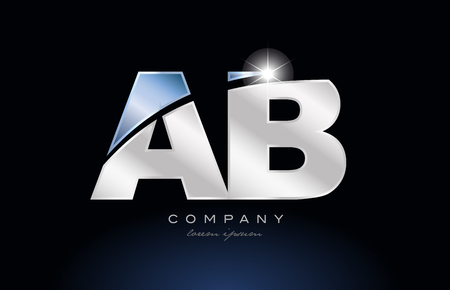 alphabet letter ab a b logo design with metal blue color suitable for a company or business Illustration