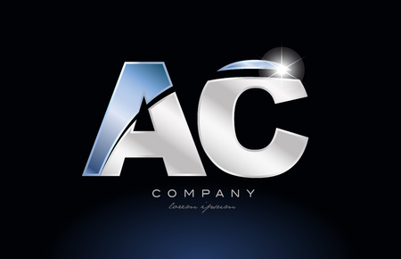 alphabet letter ac a c logo design with metal blue color suitable for a company or business Illustration