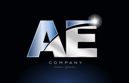 Letters a and e icon design with metal blue color suitable for a company or business.