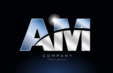 alphabet letter am a m logo design with metal blue color suitable for a company or business Illustration