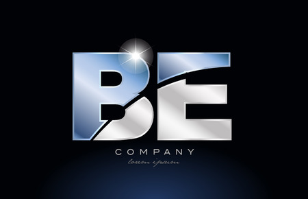 alphabet letter be b e logo design with metal blue color suitable for a company or business Vectores