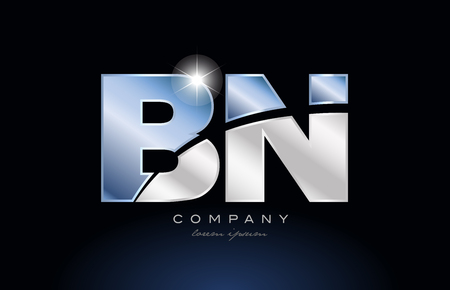 alphabet letter bn b n logo design with metal blue color suitable for a company or business Logó