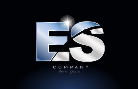 alphabet letter es e s logo design with metal blue color suitable for a company or business