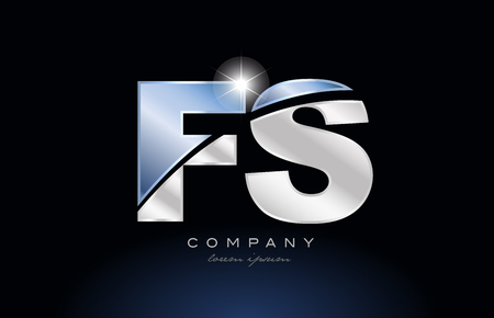 alphabet letter fs f s logo design with metal blue color suitable for a company or business
