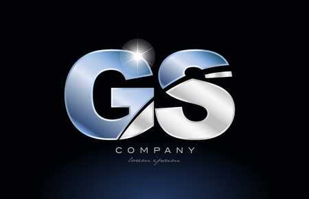 alphabet letter gs g s logo design with metal blue color suitable for a company or business Illusztráció