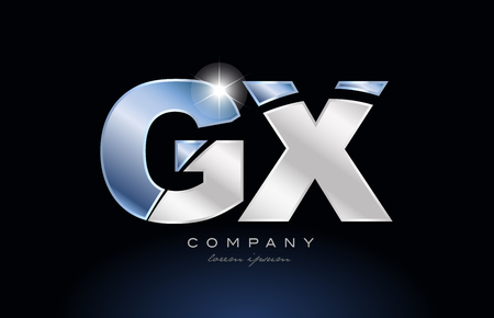 alphabet letter gx g x logo design with metal blue color suitable for a company or business