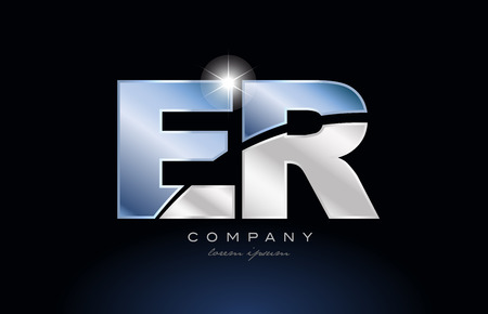 Letters E and R  design with metal blue color suitable for a company or business.