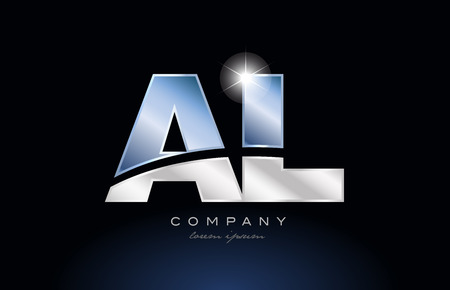 Letters A and L design with metal blue color suitable for a company or business. Vectores