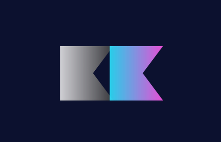 initial alphabet letter kk k k logo combination in pink blue and grey colors suitable for business and corporate identity Vettoriali
