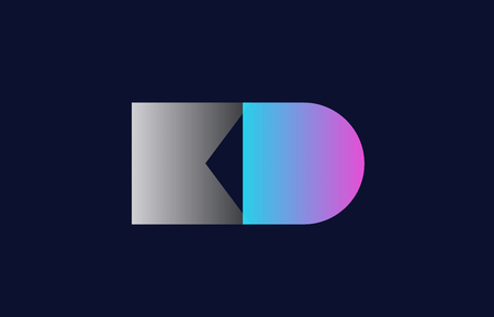 initial alphabet letter kd k d logo combination in pink blue and grey colors suitable for business and corporate identity
