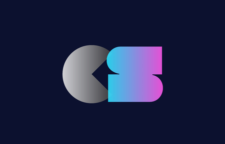 initial alphabet letter cs c s logo combination in pink blue and grey colors suitable for business and corporate identity Ilustração