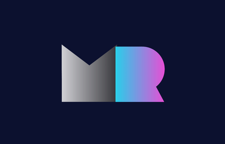 initial alphabet letter mr m r logo combination in pink blue and grey colors suitable for business and corporate identity