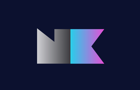 initial alphabet letter nk n k logo combination in pink blue and grey colors suitable for business and corporate identity Illusztráció