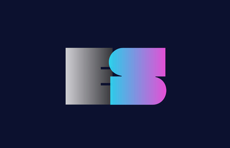 initial alphabet letter es e s logo combination in pink blue and grey colors suitable for business and corporate identity
